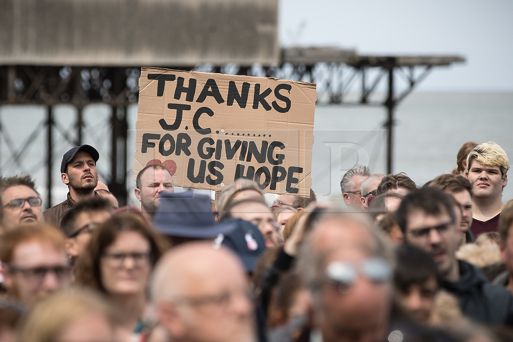 "© Licensed to London News Pictures . 07/06/2017. Colwyn Bay, UK. Placard reading "" Thanks JC for giving us hope "" . Labour Party leader Jeremy Corbyn holds a campaign rally at Colwyn Bay on the final day of the General Election campaign ahead of polls opening tomorrow (8th July 2017) . Photo credit: Joel Goodman/LNP"