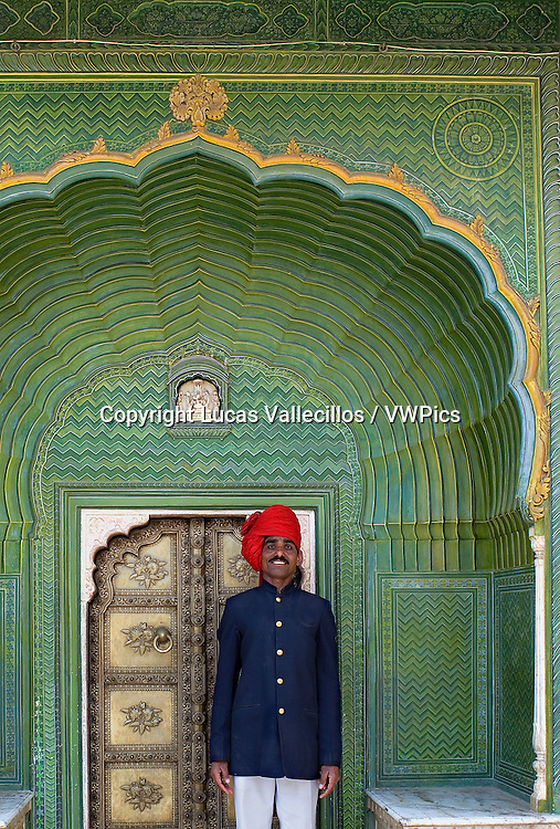 City Palace guard and Spring door, in Courtyard of Pitam Niwas Chowk,City Palace,Jaipur, Rajasthan, India