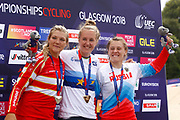 Podium BMX Finals women, Laura Smulders (Netherlands) gold medal, Tetsche Simone Christensen (Denmark) silver medal, Yaroslava Bordarenko (Russian Federation) bronze medal during the Cycling European Championships Glasgow 2018, at Glasgow BMX Centre, in Glasgow, Great Britain, Day 9, on August 10, 2018 - Photo luca Bettini / BettiniPhoto / ProSportsImages / DPPI<br /> - Restriction / Netherlands out, Belgium out, Spain out, Italy out -
