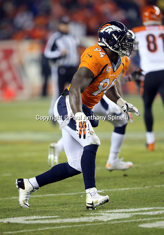 Denver Broncos outside linebacker DeMarcus Ware (94) chases the action during during the 2015 NFL week 16 regular season football game against the Cincinnati Bengals on Monday, Dec. 28, 2015 in Denver. The Broncos won the game in overtime 20-17. (©Paul Anthony Spinelli)