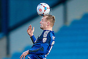 Jordan Burrow (Halifax) heading the ball during the Vanarama National League match between FC Halifax Town and Welling United at the Shay, Halifax, United Kingdom on 30 January 2016. Photo by Mark P Doherty.