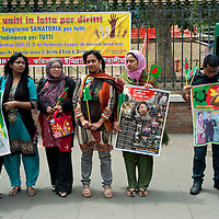 Protesta contro la violazione dei diritti umani in Bangladesh