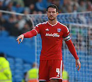 Cardiff City defender Sean Morrison makes a point during the Sky Bet Championship match between Brighton and Hove Albion and Cardiff City at the American Express Community Stadium, Brighton and Hove, England on 3 October 2015. Photo by Bennett Dean.