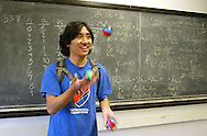 TACOMA, WASH. - AUG 1: Frank Sun, of Vancouver pulls out his juggling balls after a class at a 5-week math camp held on the University of Puget Sound Campus in Tacoma, Wash. on Friday Aug. 1, 2003. (John Froschauer /Getty Images)