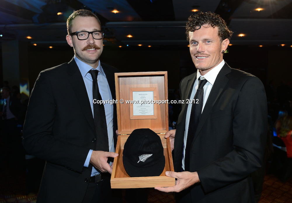 Daniel Vettori presents Rob Nicol with his test cap. ANZ New Zealand Cricket Awards 2012. Pullman Hotel, Auckland, Thursday 18 October 2012. Photo: Andrew Cornaga/Photosport.co.nz