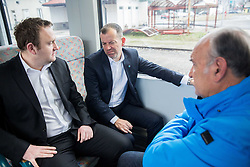 Dusan Mes, Enzo Smrekar, president of SZS and Ljubo Jasnic driving of Slovenian National Ski jumping Team from Ljubljana by train to the FIS World Cup Ski Jumping Final Planica 2016, on March 16, 2016 in  Slovenia. Photo by Vid Ponikvar / Sportida