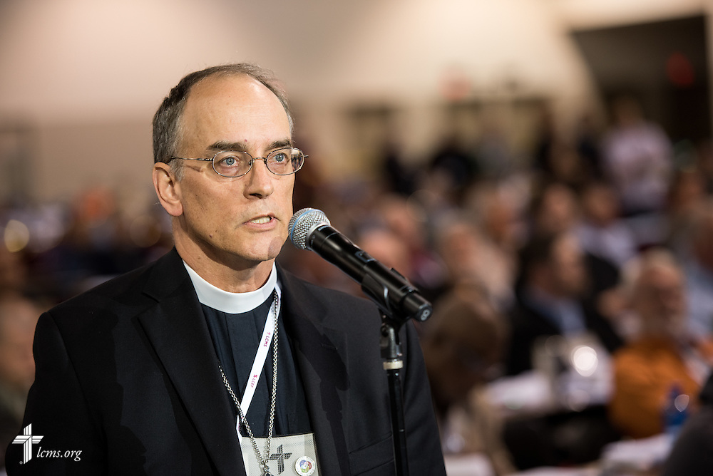 Pastoral delegate Rev. Burnell Eckhardt speaks from the floor about Res. 5-11A on Tuesday, July 12, at the 66th Regular Convention of The Lutheran Church–Missouri Synod, in Milwaukee. Eckhardt encouraged the convention to provide conscientious-objector status for women regarding a draft for military service. LCMS/Michael Schuermann