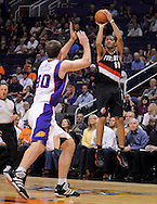 Oct. 12, 2012; Phoenix, AZ, USA; Portland Trail Blazers forward Nicolas Batum (88) puts up a shot against the Phoenix Suns forward Luke Zeller (40)during the first half at US Airways Center. Mandatory Credit: Jennifer Stewart-US PRESSWIRE.