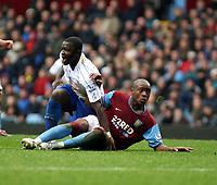 Photo: Mark Stephenson/Sportsbeat Images.<br /> Aston Villa v Portsmouth. The FA Barclays Premiership. 08/12/2007.Portsmouth's Sulley Ali Muntari celebrates scoring his 2ed goal with Villa's Nigal Reo-Coker