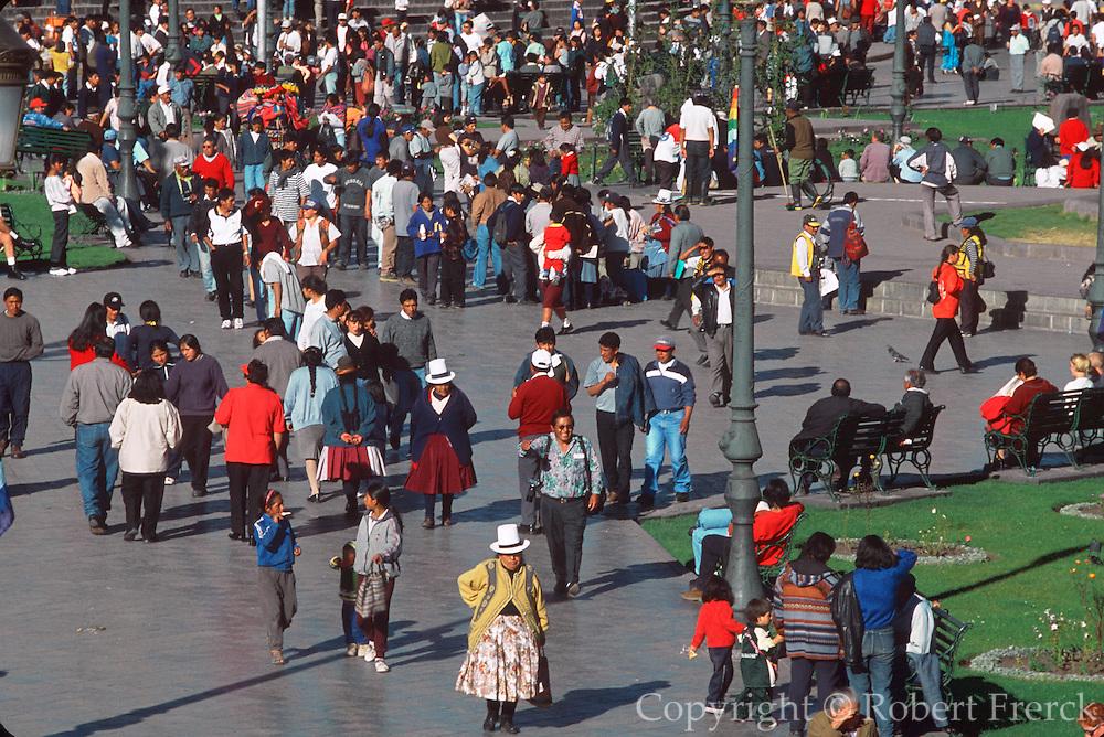 PERU, HIGHLANDS, CUZCO crowds in the Plaza de Armas