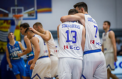 Stavrakoukas  Vasileios of Greece and Georgalas  Fotios of Greece celebrate during basketball match between National teams of Greece and Slovenia in the Group Phase C of FIBA U18 European Championship 2019, on July 29, 2019 in  Nea Ionia Hall, Volos, Greece. Photo by Vid Ponikvar / Sportida