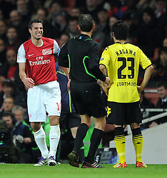 23.11.2011, Emirates Stadion, London, ENG, UEFA CL, Gruppe F, FC Arsenal (ENG) vs Borussia Dortmund (GER), im Bild Arsenal's Robin Van Persie winces in pain during the football match of UEFA Champions league, group F, between FC Arsenal (ENG) and Borussia Dortmund (POR) at Emirates Stadium, London, United Kingdom on 2011/11/23. EXPA Pictures © 2011, PhotoCredit: EXPA/ Sportida/ Chris Brunskill..***** ATTENTION - OUT OF ENG, GBR, UK *****