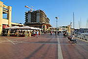 Israel, Herzliya, Marina, restaurant on the dock.