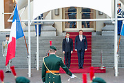 De Franse president Emmanuel Macron tijdens een bezoek aan koning Willem-Alexander. Het bezoek heeft plaats in het kader van de top van staatshoofden en regeringsleiders van de Europese Unie.<br /> <br /> The French president Emmanuel Macron during a visit to King Willem-Alexander. The visit will take place within the framework of the summit of Heads of State and Government of the European Union.