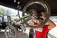 Cam's mechanic Jimmy with SRAM arrives to work on the bike. Day in the life of Cam Zink as he prepares for the Mammoth Backflip for World of X Games at Mammoth Mountain, CA. © Brett Wilhelm
