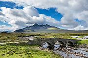 Sligachan Old Bridge and Black Cuillin mountain range on Isle of Skye, Scotland, United Kingdom, Europe.