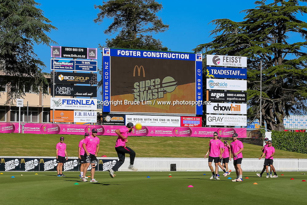The Knights warm up ahead of the McDonalds Super Smash T20 cricket match - Knights v Aces played at Seddon Park, Hamilton, New Zealand on Saturday 17 December.<br /> <br /> Copyright photo: Bruce Lim / www.photosport.nz