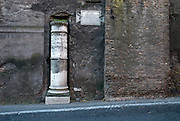 Rome, Italy, November 2006-One mile marker on the Appian Way, the most important ancient Roman road.