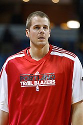 January 19, 2011; Sacramento, CA, USA;  Portland Trail Blazers center Joel Przybilla (10) warms up before the game against the Sacramento Kings at the ARCO Arena. Portland defeated Sacramento 94-90 in overtime.