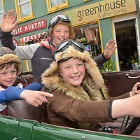 REPRO FREE<br /> Ben O'Callaghan, Harry Foster and Lusy Foster from Belgooly pictured in a 1926 Lagonda at the start of the Blue Haven Kinsale Vintage Rally on Saturday.<br /> Picture. John Allen<br /> <br /> Kinsale Vintage Rally Weekend 2017