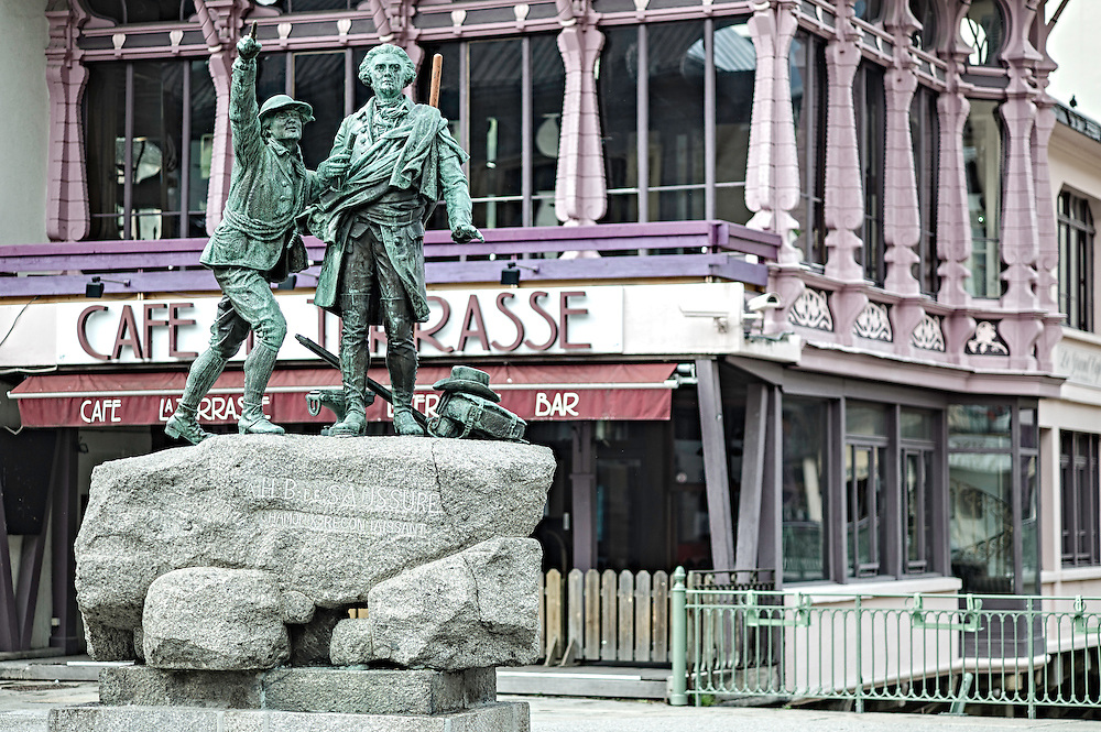 Statues in town during the filming of the Unrideables in Chamonix, France on May 22nd, 2014.