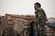 Iraq, Kurdistan: Peshmerga soldiers at a military base on the frontline agains IS in Sinjar. <br />
