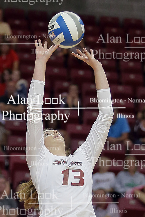 23 September 2017:  Rachel Maguire during a college women's volleyball match between the Salukis of Southern Illinois and the Illinois State Redbirds at Redbird Arena in Normal IL (Photo by Alan Look)