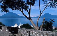 Lake Atitlan and volcanoes from Panajachel, Guatemala