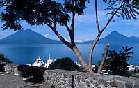 Lake Atitlan and volcanoes from Panajachel, Guatemala
