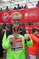BBC Radio 2 disc jockey Chris Evans at the end of the race at the Virgin Money London Marathon 2015, Sunday 26th April 2015<br /> <br /> Roger Allen for Virgin Money London Marathon<br /> <br /> For more information please contact Penny Dain at pennyd@london-marathon.co.uk