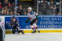 KELOWNA, CANADA - FEBRUARY 2:  Connor Zary #18 of the Kamloops Blazers kneels on the ice after a check by Nolan Foote #29 of the Kelowna Rockets on February 2, 2019 at Prospera Place in Kelowna, British Columbia, Canada.  (Photo by Marissa Baecker/Shoot the Breeze)