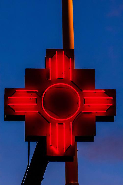 The Zia symbol (Ancient sun symbol), Serafin's Chile Hut on Central Avenue (Historic Route 66) in the Nob Hill section of Albuquerque, New Mexico USA.