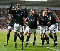 MK DONS players celebrate their equalizer<br /> <br /> SOUTHAMPTON V MK DONS FA CUP THIRD RND 7.1.06 <br /> <br /> PHOTO SEAN RYAN FOTOSPORTS INTERNATIONAL