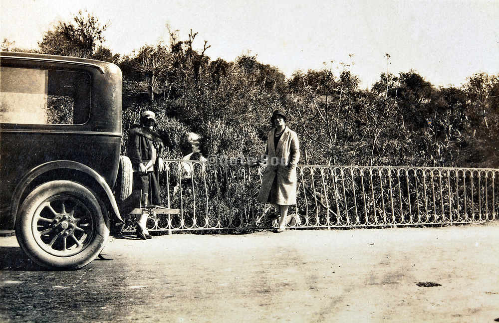 posing with car by the side of the road 1930s Morocco