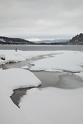 """Snowy Donner Lake 2"" - This snow scene was photographed in the morning at the West end of Donner Lake in Truckee, California."