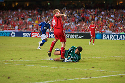 Hong Kong, China - Friday, July 27, 2007: Liverpool's Dirk Kuyt is denied a goal by Portsmouth's goalkeeper David James during the final of the Barclays Asia Trophy at the Hong Kong Stadium. (Photo by David Rawcliffe/Propaganda)