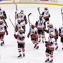 GEORGETOWN, ON - MARCH 2: The Georgetown Raiders players salute their fans after winning the game March 2, 2019 at Gordon Alcott Memorial Arena in Georgetown, Ontario, Canada.<br /> (Photo by Dave Fryer / OJHL Images)