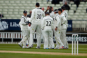 Warwickshire  celebrate asvYorkshire Andrew Gale  is out bowled by Warwickshire Keith Baker  during the Specsavers County Champ Div 1 match between Warwickshire County Cricket Club and Yorkshire County Cricket Club at Edgbaston, Birmingham, United Kingdom on 24 April 2016. Photo by Simon Davies.