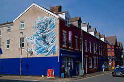 LIVERPOOL, ENGLAND - Sunday, April 9, 2017: A mural of Everton striker Graeme Sharpe on the side of a building outside Goodison Park, pictured before the FA Premier League match between Everton and Leicester City at Goodison Park. (Pic by David Rawcliffe/Propaganda)
