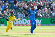 Hamid Hassan of Afghanistan appeals for an lbw against David Warner of Australia which is given not out during the ICC Cricket World Cup 2019 match between Afghanistan and Australia at the Bristol County Ground, Bristol, United Kingdom on 1 June 2019.