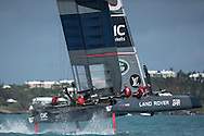 Image licensed to Lloyd Images <br /> The Louis Vuitton Americas Cup World Series. Bermuda. Pictures of the LandRover BAR team skippered by Ben Ainslie (GBR) in action on their AC45f foiling catamaran during practice racing today<br /> <br /> Credit: Lloyd Images