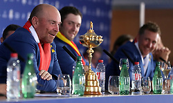 Team Europe captain Thomas Bjorn with the Ryder Cup trophy in the post tournament press conference on day three of the Ryder Cup at Le Golf National, Saint-Quentin-en-Yvelines, Paris.