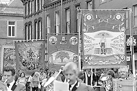 Dinnington, Sherwood and Hucknall banners. 1988 Yorkshire Miner's Gala. Wakefield.