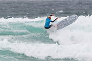 Jordan Zervas (UK) carves a turn during the Boardmasters Longboard Pro at Fistral Beach, Newquay, Cornwall, United Kingdom on 10 August 2019.