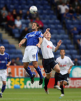 Photo: Chris Ratcliffe.<br />Leicester City v Ipswich Town. Coca Cola Championship. 12/08/2006.<br />Gavin Williams (R) of Ipswich clashes with Andy Johnson of Leicester.