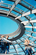 The terrace at the top of the Reichstag Dome  with 360-degree views of central Berlin. The dome was designed by Norman Foster.<br /> Platz der Republik 1<br /> Berlin<br /> Germany