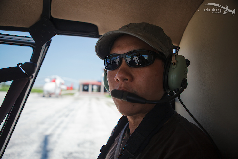 Eric Cheng in a helicopter in Isla Mujeres, Mexico. Photo: Sterling Zumbrunn