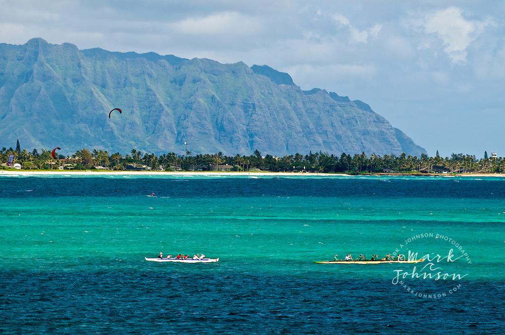 Outrigger canoes, Kailua Beach, Oahu, Hawaii