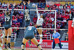 BLOOMINGTON, IL - October 12: Kaylee Martin during a college Women's volleyball match between the ISU Redbirds and the Valparaiso Crusaders on October 12 2018 at Illinois State University in Bloomington, IL. (Photo by Alan Look)