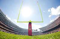 06 October 2013: The NFL celebrates and supports Breast Cancer Awareness Month with a pink ribbon on the goal post during the New Orleans Saints 26-18 victory over the Chicago Bears in an NFL Game at Soldier Field in Chicago, IL.